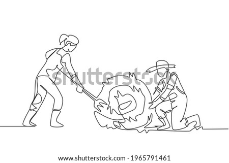 Single one line drawing female farmer was stabbing a haystack and rolling it with straw stick and the male farmer was helping her. Minimalism concept. One line draw design graphic vector illustration. Сток-фото ©