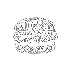 Single one line drawing hamburger, cheeseburger. Bun with cutlet, cheese, lettuce, tomato. American Street fast food. Swirl curl style. Modern continuous line draw design graphic vector illustration