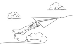 Single one line drawing of young Arabian business man hanging tight on paper airplane. Business challenge minimal metaphor concept. Modern continuous line draw design graphic vector illustration