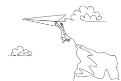Single one line drawing of young Arabian business man jumping from cliff top to reach paper airplane. Business vision metaphor concept. Modern continuous line draw design graphic vector illustration