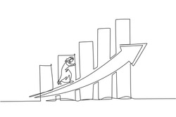 Single one line drawing of young Arabic businessman running climb the arrow graph up. Success business growth strategy minimal concept. Modern continuous line draw design graphic vector illustration