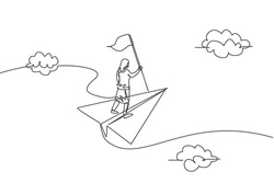 Single one line drawing of young businesswoman flying with paper plane and holding winning flag. Business goal. Metaphor minimal concept. Modern continuous line draw design graphic vector illustration