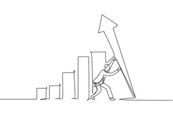 Single one line drawing of young smart business man lifting the finance graph bar up. Business financial market growth minimal concept. Modern continuous line draw design graphic vector illustration