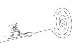 Single one line drawing of young smart male employee fly using arrow and focus to hit target. Business finance goal minimal concept. Modern continuous line draw design graphic vector illustration