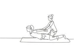 Single one line drawing professional therapist practicing massage therapy. Woman patient enjoying wellness spa body treatment. Rehabilitation, physiotherapy. Continuous line draw design graphic vector