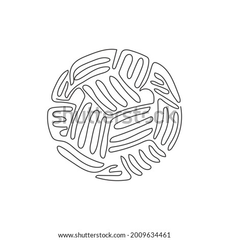 Single one line drawing Sepak Takraw ball or rattan ball. Scissor kick. Concept of team sport, Asian sport game, spirit. Swirl curl style. Continuous line draw design graphic vector illustration