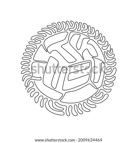 Single one line drawing Sepak Takraw ball or rattan ball. Scissor kick. Concept of team sport, Asian sport game, spirit. Swirl curl circle background style. Modern continuous line draw design graphic