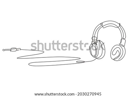 Single one line drawing woman listening to music. Headphones musical sound wave. Music gadget and note. Audio headphone outline sketch. Vector concept of musical symbol. Continuous line draw design
