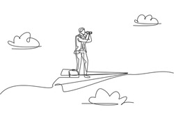 Single one line drawing young smart business man flying and standing on paper airplane while analyze market. Business metaphor concept. Continuous line draw. Minimal design graphic vector illustration