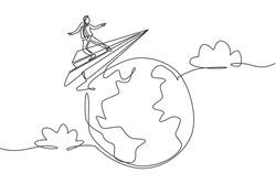 Single one line drawing young smart business man flying with paper airplane around the world. Business trip metaphor concept. Modern continuous line draw. Minimal design graphic vector illustration
