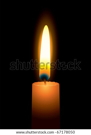 Single orange bright candle illustration with black background