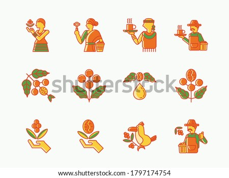 single origin Etiopia coffee colorline icon set with local farmer,dripper man pouring water,fresh coffee beans,cofee cherry and toucan bird. Stock photo ©