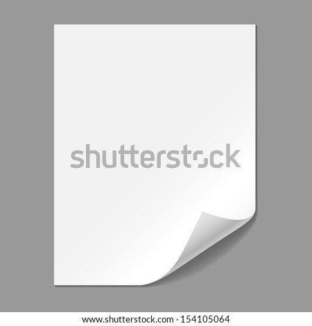 Single Paper Page with Folding Corner - Single piece of paper with folding corner, isolated on a gray background.  EPS10 file with transparency.