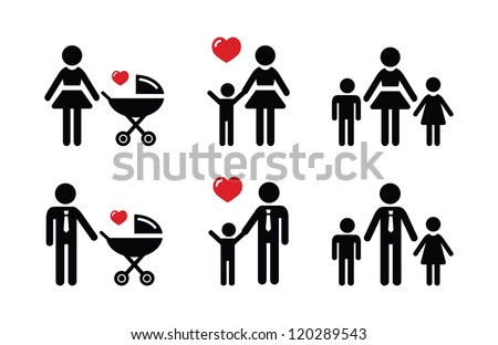 Single parent sign - family icons - stock vector