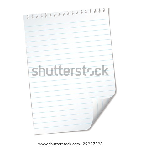 single piece of White note pad paper with ripped holes