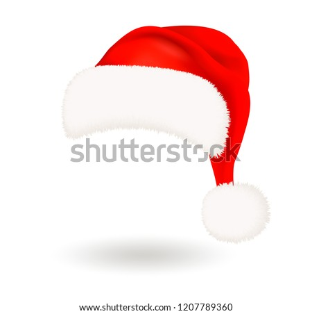 Single realistic red Santa Claus hat with fluffy fur pompon isolated on white background. Vector illustration