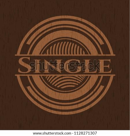 Single retro style wood emblem
