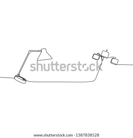 single traditional lamp and triple lamp one line lamps on a white background Vector