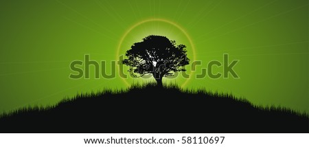 single tree with halo and star