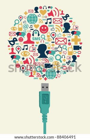 Single USB plug connects a globe made with social media icons on cream background. Vector file available.