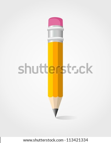 Single yellow pencil isolated.Vector illustration layered for easy manipulation and custom coloring. - stock vector
