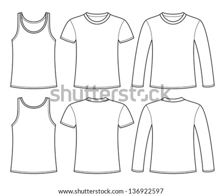 Singlet, T-shirt and Long-sleeved T-shirt template
