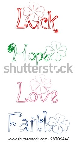 Sings for Luck, Faith, Love and Hope with shamrock - stock vector