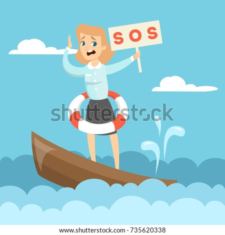 sinking business boat woman on
