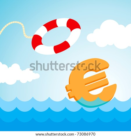 Sinking euro sign and the flying lifebuoy