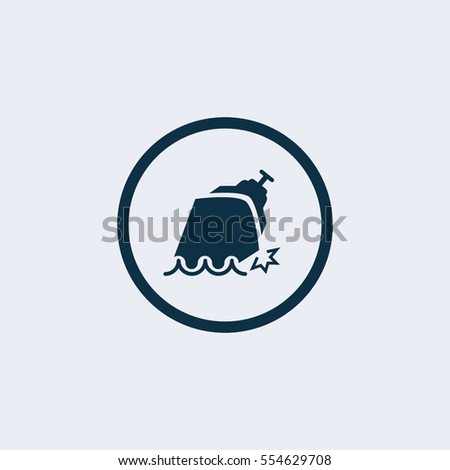 sinking ship vector icon