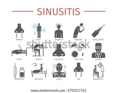 Sinusitis. Symptoms, Treatment. Icons set.