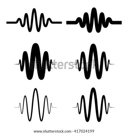 sinusoidal sound wave black symbol vector