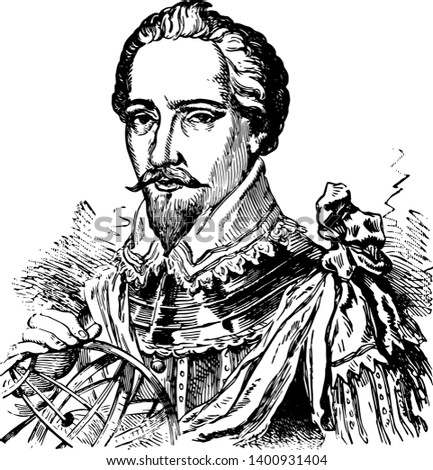 Sir Humphrey Gilbert c.1539 to 1583 he was an adventurer explorer member of parliament and a pioneer of the English colonial empire in North America and the plantations of Ireland vintage line drawing