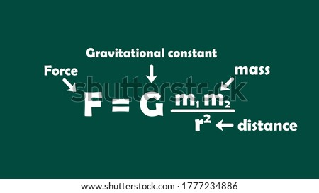 Sir Isaac Newton's universal law of gravitation (F=Gmm/r2) is an equation representing the attractive force (F) of two masses (m) separated at distance (r).  gravitation chalk vector illustration Stock fotó ©