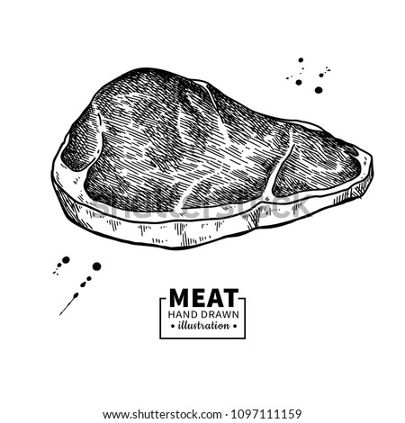 Sirloin steak vector drawing. Red meat hand drawn sketch. Engraved food illustration. Vintage object. Butcher shop product. Great for label, restaurant, barbecue menu
