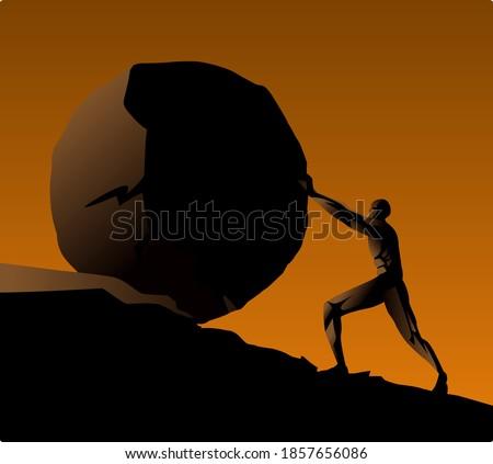 Sisyphus greek myth rolling a rock in a mountain Photo stock ©