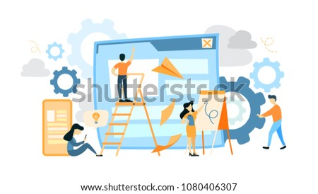 Site development illustration. People building apps and web design.