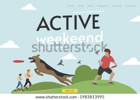 Site header. Active weekend. A man is playing frisbee with a dog. Vector. Stock photo ©