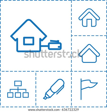 Site icon. set of 6 site outline icons such as house building, structure, home, pen