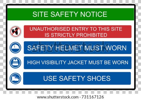 Site Safety Notice, at Transparent Effect Background
