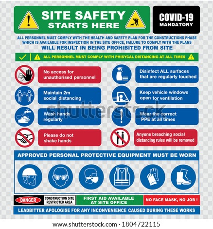 site safety starts here or site safety sign or health and safety protocols on construction site or best practices new normal lifestyle concept. eps 10 vector, easy to modify