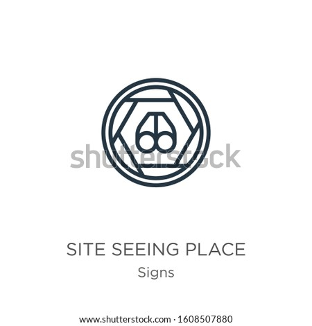 Site seeing place icon. Thin linear site seeing place outline icon isolated on white background from signs collection. Line vector sign, symbol for web and mobile