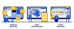 Sitemap creation, copy optimization, click tracking concept with tiny people. Website optimization abstract vector illustration set. SEO analytics software, online business, target keyword metaphor.