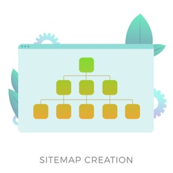 Sitemap creation vector icon. The branched map allows informing search engines about the current website structure or more convenient navigation for the user. Search engine optimization business