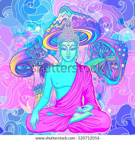 Sitting Buddha over colorful neon background. Vector illustration. Psychedelic  mushroom composition. Indian, Buddhism, Spiritual Tattoo, yoga, spirituality. Sticker, patch, 60s hippie colorful art.