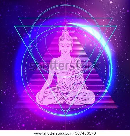 Sitting Buddha over colorful neon background. Vector illustration. Vintage decorative composition. Indian, Buddhism, Spiritual motifs. Tattoo, yoga, spirituality.