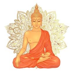 Sitting Buddha over ornate mandala round pattern. Vector illustration. Vintage decorative composition. Indian, Buddhism, Spiritual motifs. Tattoo, yoga, spirituality.