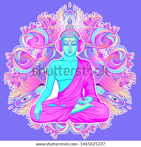 Sitting Buddha silhouette over ornamental mandala flower. Esoteric vector illustration. Vintage decorative, Indian, Buddhism, spiritual art. Hippie tattoo, spirituality, Thai god, yoga zen.