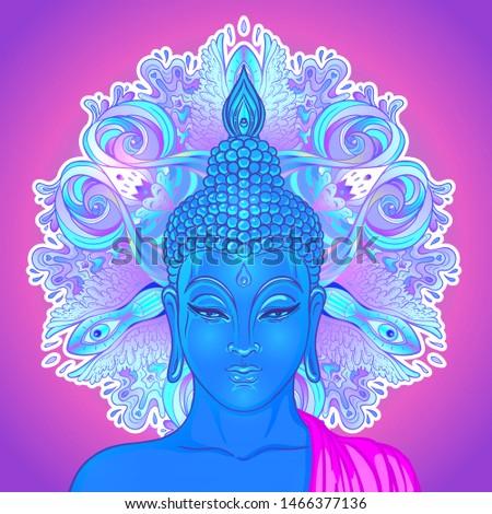 Sitting Buddha silhouette over ornamental mandala flower. Esoteric vector illustration. Vintage decorative, Indian, Buddhism, spiritual art. Hippie tattoo, spirituality, Thai god, yoga zen.