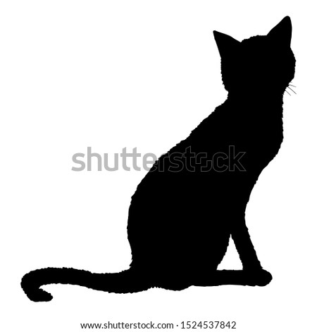 Sitting Cat SIlhouette. Vector Black Feline Logo.